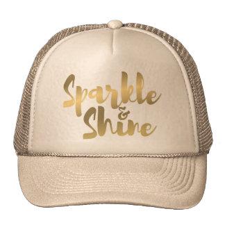 gold metallic brush stroke effect quote on hat cap