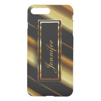 Gold Metallic & Diagonal Black Stripes iPhone 7 Plus Case