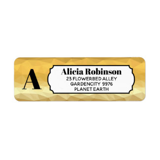 Gold metallic effect initial sticker address label