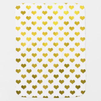 Gold Metallic Faux Foil Hearts Polka Dot Heart Baby Blanket