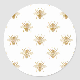 Gold Metallic Faux Foil Photo-Effect Bees on White Classic Round Sticker