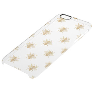 Gold Metallic Faux Foil Photo-Effect Bees on White Clear iPhone 6 Plus Case