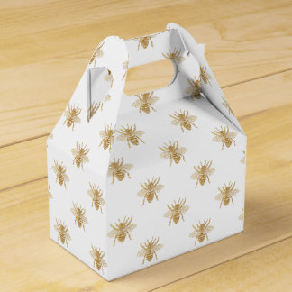 Gold Metallic Faux Foil Photo-Effect Bees on White Favour Box