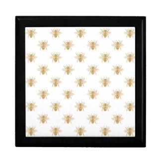 Gold Metallic Faux Foil Photo-Effect Bees on White Gift Box