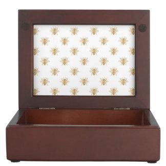 Gold Metallic Faux Foil Photo-Effect Bees on White Keepsake Box