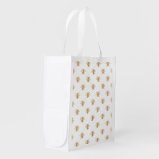 Gold Metallic Faux Foil Photo-Effect Bees on White Reusable Grocery Bag