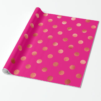Gold Metallic Faux Foil Polka Dot Pink Background