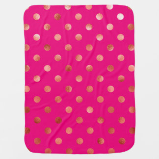 Gold Metallic Faux Foil Polka Dot Pink Background Baby Blanket
