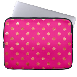 Gold Metallic Faux Foil Polka Dot Pink Background Computer Sleeve