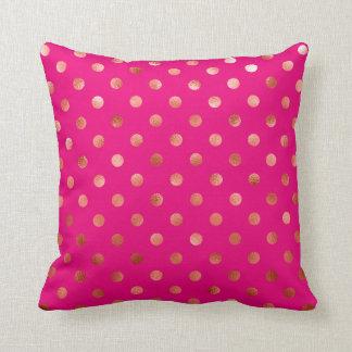 Gold Metallic Faux Foil Polka Dot Pink Background Cushion