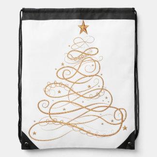 Gold Metallic Filigree Christmas Tree Backpacks