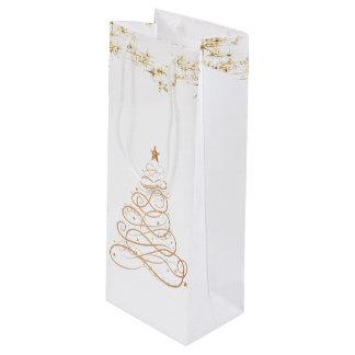 Gold Metallic Filigree Christmas Tree Wine Gift Bag
