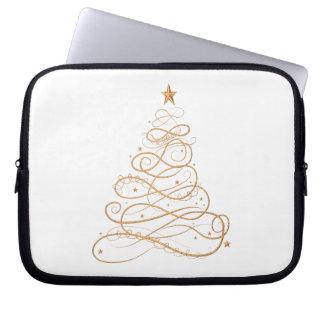 Gold Metallic Filigree Christmas Tree Computer Sleeve