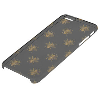 Gold Metallic Foil Bees on Black Clear iPhone 6 Plus Case