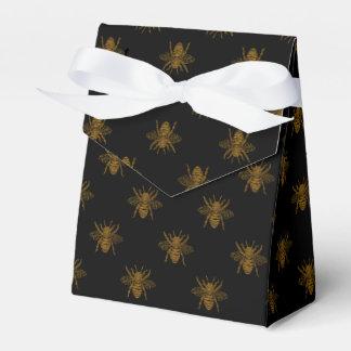 Gold Metallic Foil Bees on Black Favour Box