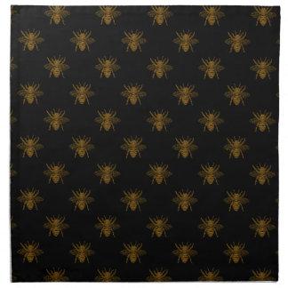 Gold Metallic Foil Bees on Black Napkin
