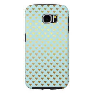 Gold Metallic Foil Heart Love Teal Aqua Modern Samsung Galaxy S6 Cases