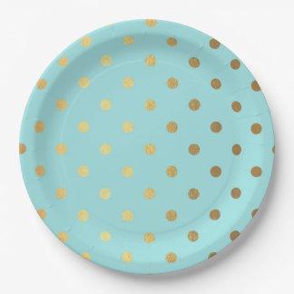 Gold Metallic Foil Polka Dots Teal Aqua Modern Paper Plate