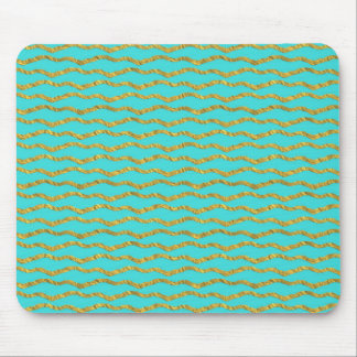 Gold Metallic Foil Sea Stripes Teal Aqua Modern Mouse Pad
