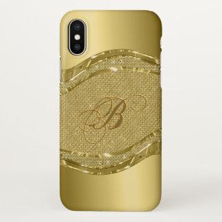 Gold Metallic Geometric Design Monogram Case