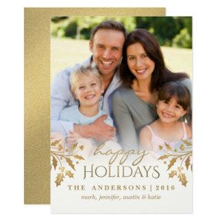 Gold Metallic Holly Berry Holiday Photo Flat Card 11 Cm X 16 Cm Invitation Card