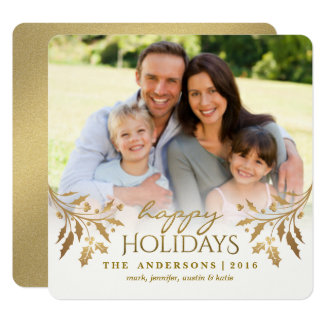 Gold Metallic Holly Berry Holiday Photo Flat Card 13 Cm X 13 Cm Square Invitation Card