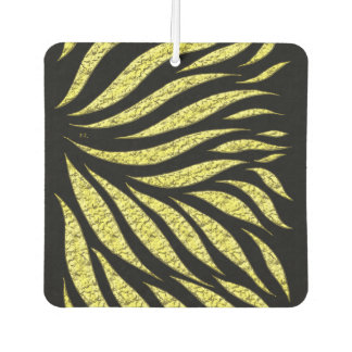 Gold Metallic Pattern On Black Car Air Freshener