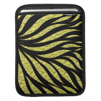 Gold Metallic Pattern On Black iPad Sleeve
