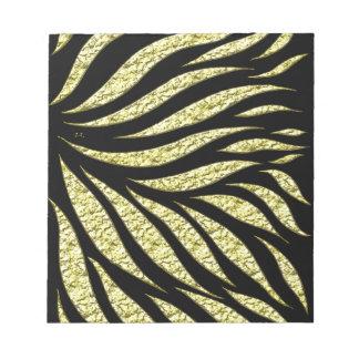 Gold Metallic Pattern On Black Notepad