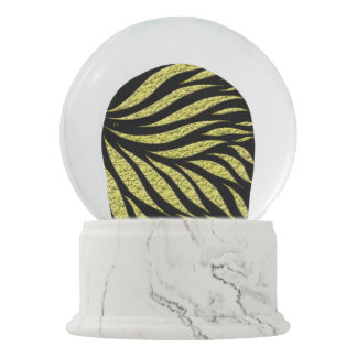 Gold Metallic Pattern On Black Snow Globe