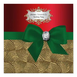 Gold Metallic Swirls, Bow Ribbon Xmas Party 13 Cm X 13 Cm Square Invitation Card