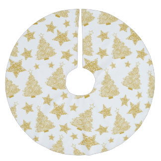 Gold Metallic Trees & Stars Christmas Pattern Brushed Polyester Tree Skirt
