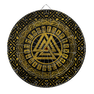 Gold  Metallic Valknut Symbol on Celtic Pattern Dartboard