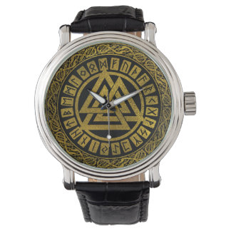 Gold  Metallic Valknut Symbol on Celtic Pattern Watch