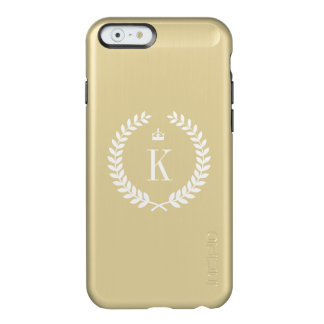 Gold Metallic Wreath Crown Pattern and Monogram Incipio Feather® Shine iPhone 6 Case