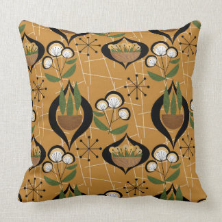 Gold Mid-Century | Plants in Pots | Atomic Throw Pillow