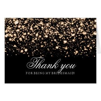 Gold Midnight Glam Thank You Bridesmaid Greeting Card