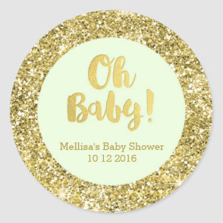 Gold Mint Baby Shower Oh Baby Favor Sticker