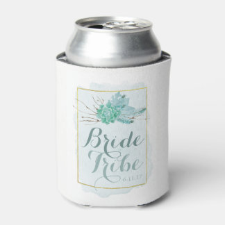 Gold Mint Floral Watercolor Bridesmaid Bride Tribe Can Cooler