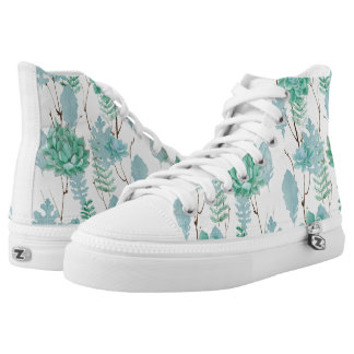 Gold Mint Floral Watercolor Wedding Bridesmaid High Tops