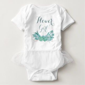 Gold Mint Floral Watercolor Wedding Flower Girl Baby Bodysuit