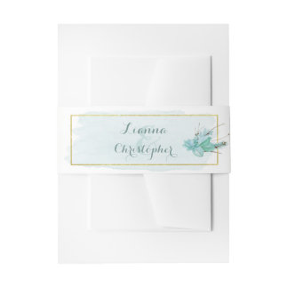 Gold Mint Floral Watercolor Wedding Invitation Invitation Belly Band