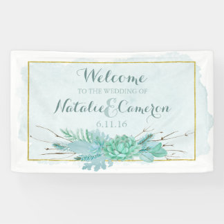Gold Mint Floral Watercolor Wedding Monogram Banner