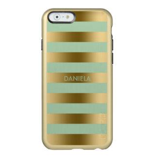 Gold & Mint-Green Stripes Geometric Pattern Incipio Feather® Shine iPhone 6 Case