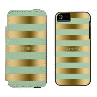 Gold & Mint-Green Stripes Geometric Pattern Incipio Watson™ iPhone 5 Wallet Case