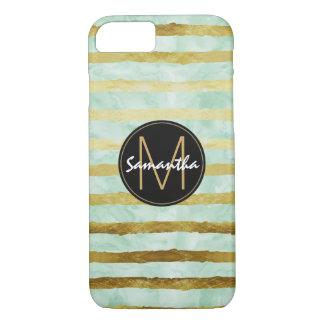 Gold Mint Watercolor Stripes Monogram iPhone 8/7 Case