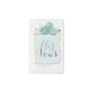 Gold Mint Watercolor Wedding Bride Her Vows Pocket Moleskine Notebook