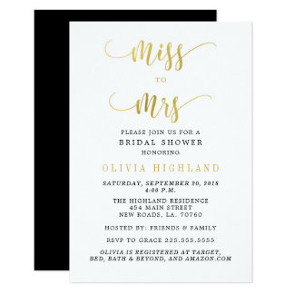 Gold Miss to Mrs Bridal Shower Invitations