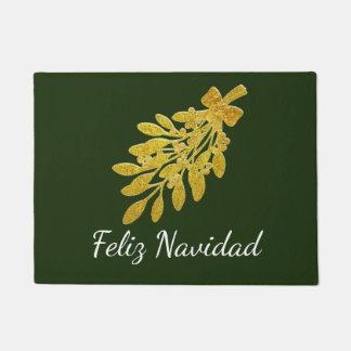 Gold Mistletoe Feliz Navidad Personalize Doormat