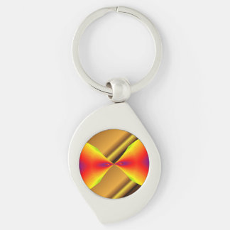 Gold Mixing With Random Colors Key-chain Silver-Colored Swirl Key Ring